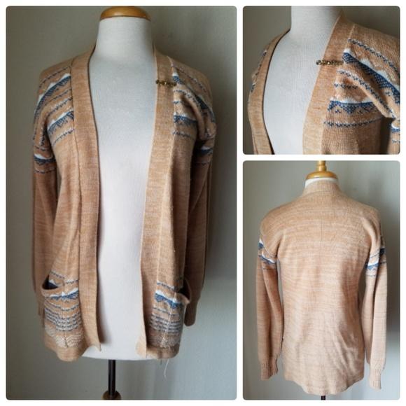2210649aff0 Vintage Kmart Tan Knit Cardigan Sweater & Brooch